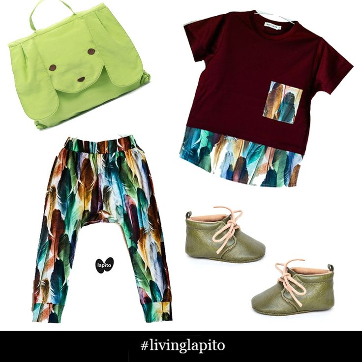 Prints and more prints! You can never have enough! Mammoo Kids toddler backpack, Wolf and Rita top and pants, Olive Lapito baby shoes