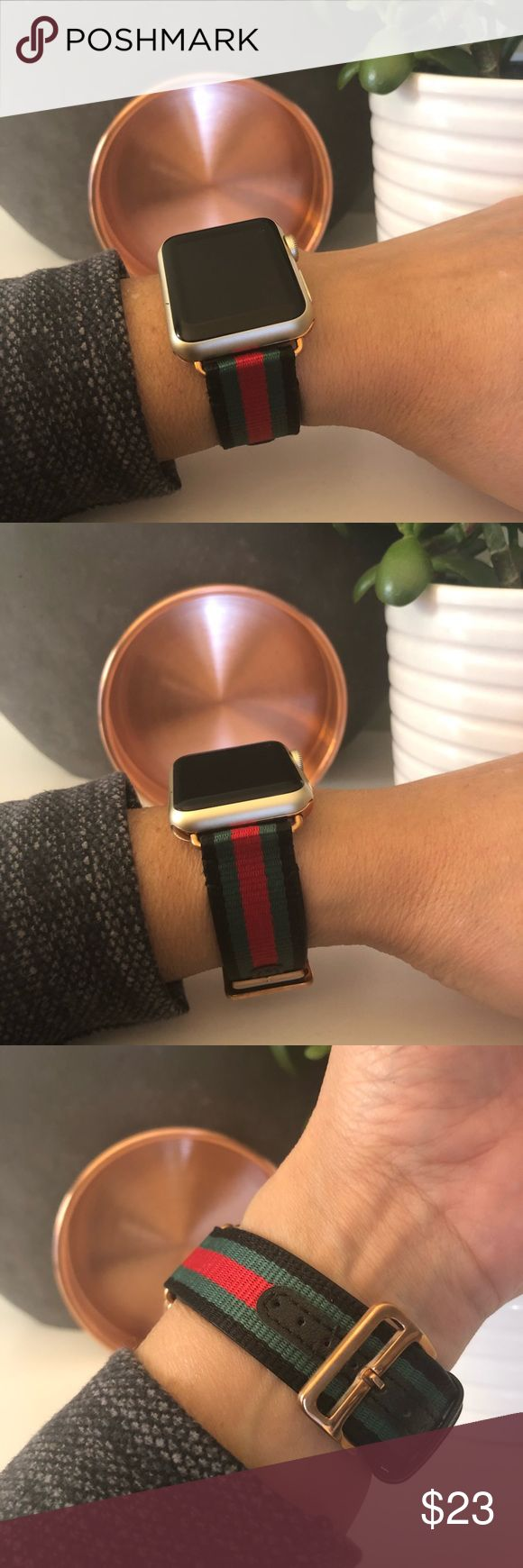 🌸ROSE GOLD Black, Red & Green Apple Watch Band High quality canvas band with leather strip and leather lining with ROSE GOLD adapters. It comes with 38mm or 42mm adapters. Please select your size when you purchase. The adapters fit the Apple Watch 1, 2, 3 and Sport.   I also have other band colors, hardware colors and styles in my closet. Check them out!   I offer 15% off if you buy two or more! Please add BOTH items to the bundle for the discount to automatically apply.    Only the band is…