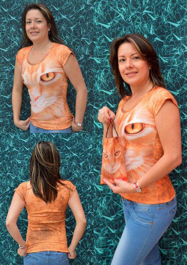 Camiseta gato maine- Mujer  Elaborada en %100 poliéster  Precio $ 45.000  Tallas S- M- L Whatsapp 312 393 6893 contacto@subligrafica.com