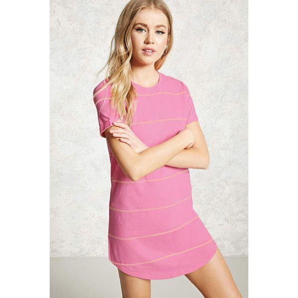 Forever21 Striped Mini T-Shirt Dress ($15) ❤ liked on Polyvore featuring dresses, long-sleeve mini dress, pink dress, t-shirt dresses, forever 21 dresses and mini t shirt dress