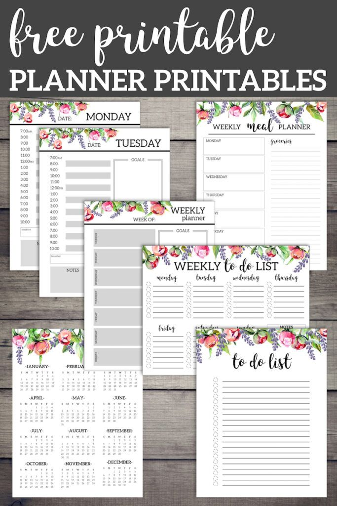 Floral Monthly Planner Template Pages Free Printable