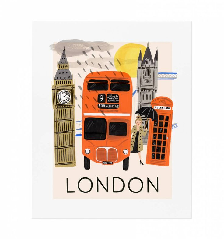 "Travel London Illustrated Art Print by Rifle Paper Co 11"" x 14"", $40"