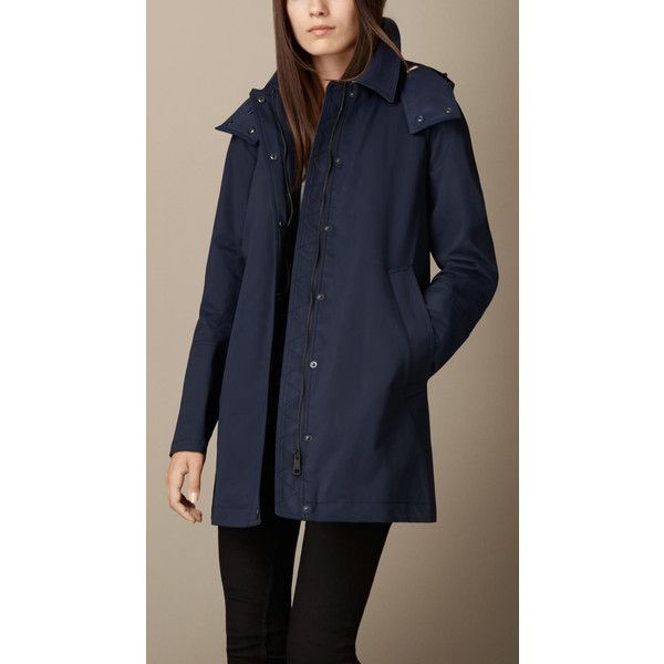 Burberry Showerproof Car Coat With Removable Warmer (565.045 CLP) ❤ liked on Polyvore featuring outerwear, coats, burberry coat, hooded coat, burberry, checkered coat and water resistant coat