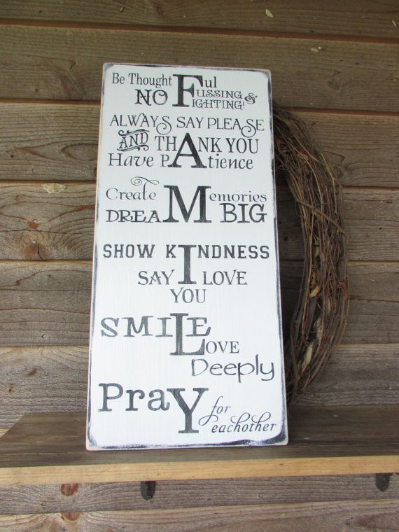 Family Rules Signs Primitive Rustic Home Decor Wood Hand Painted Inspirational