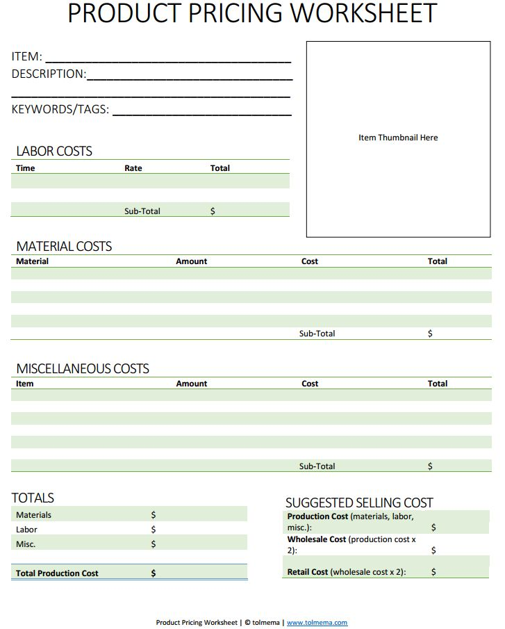 product pricing worksheet - This guide helps you know how much to charge for handmade items.