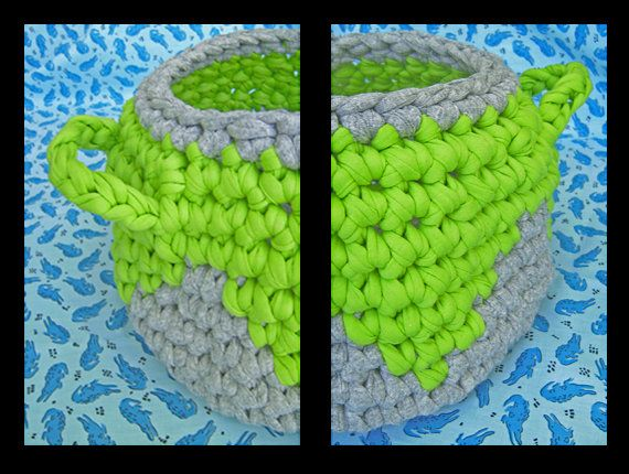 crochet basket. with or without fabric lining by queliodehilo, €20.00