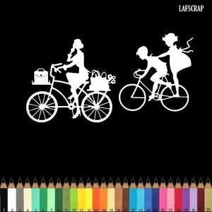 Lot découpes scrapbooking scrap personnage  femme à vélo panier de fleurs enfants découpe papier embellissement die cut création