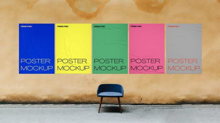 Glued Paper 5 Wall Posters Free Mockup Psd Set Psfiles Mockup Free Psd Poster Mockup Poster Mockup Free