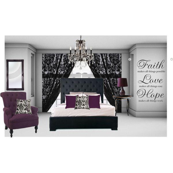 purple damask bedroom created by emp82 on polyvore. Interior Design Ideas. Home Design Ideas