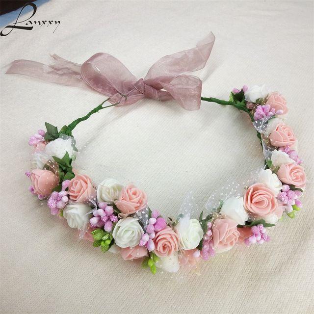Lanxxy Yeni Kadın Düğün Gelin Saç Bantları Çiçek Saç Aksesuarları Çiçek Taç Kızlar Yaz Açık Şapkalar Moda Bandı