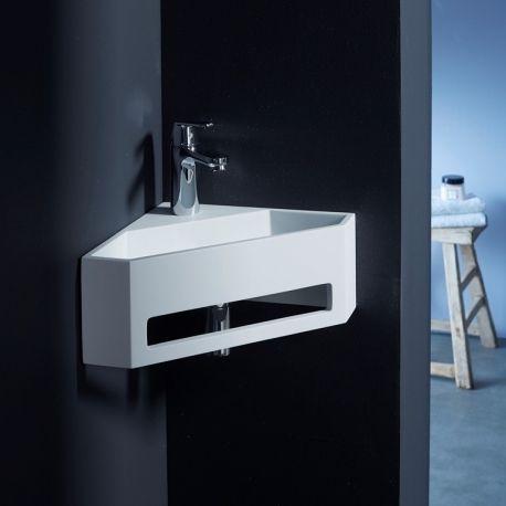 Lave mains d'angle scala pour wc en solid surface
