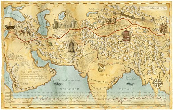 MAPS & ATLAS - SILK ROAD TRADE ROUTES MAP.