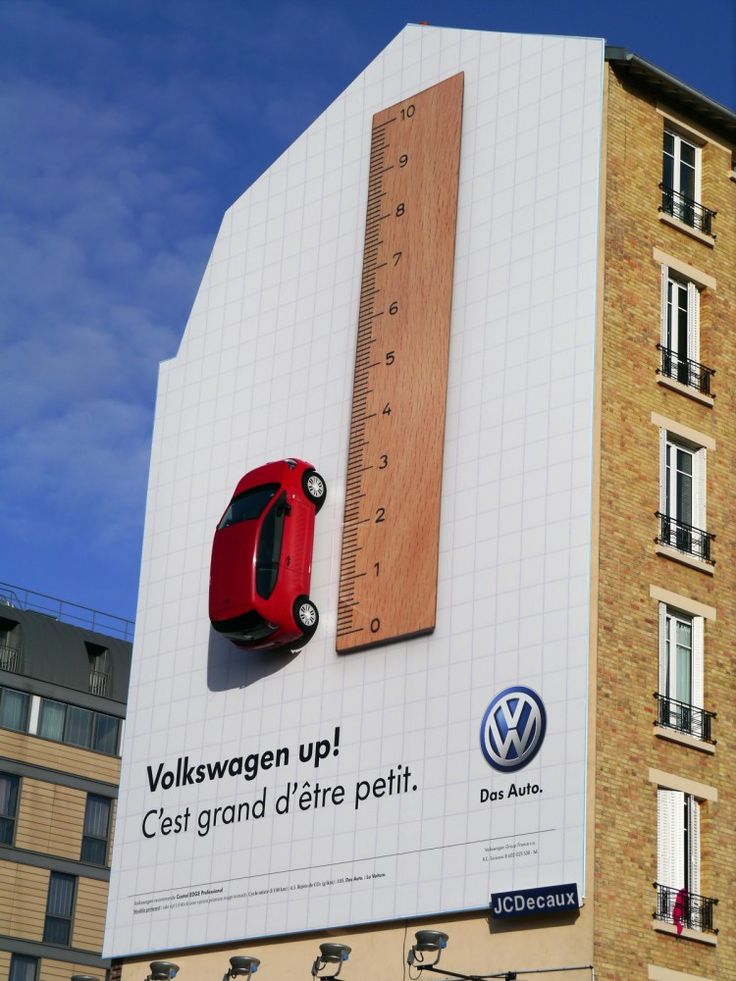 volkswagen smaller is better billboard house 750x1000 pic on Design You Trust | Advertising | Pinterest | Signage and Typography