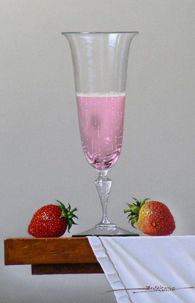 Javier Mulio Fresas y copa de néctar rosé