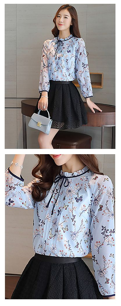 When you have butterflies in your stomach ... Spring butterfly print sky blue long sleeve shirt! Find it at €12.34
