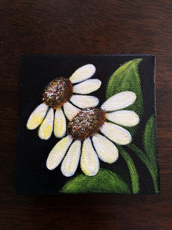 White Daisies on Mini Canvas Hand Painted with Magnet.  Size 3x3 on Etsy, $14.99