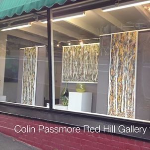 Window display paintings by Colin Passmore, glass by David Rousell. Red Hill Gallery, Brisbane. redhillgallery.com.au