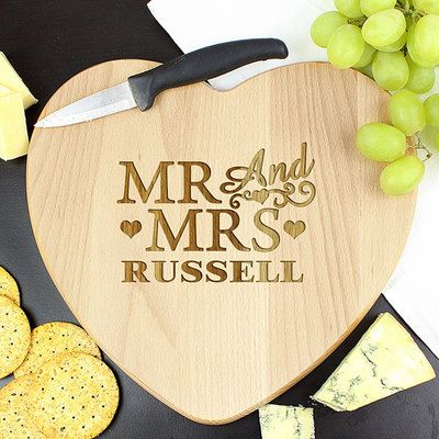 Check this out!! The Kitchen Gift Company have some great deals on Kitchen Gadgets & Gifts Personalised Wooden Heart Chopping Board - Mr & Mrs Design #kitchengiftco