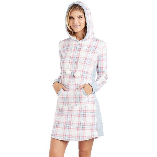 Women's Cuddl Duds Pajamas: Show Stopper Hooded Sleep Shirt ($24) ❤ liked on Polyvore featuring intimates, sleepwear, pajamas, med orange, long sleeve pajamas, long sleeve sleep shirt, cuddl duds pajamas, plaid pjs and long sleeve pyjamas