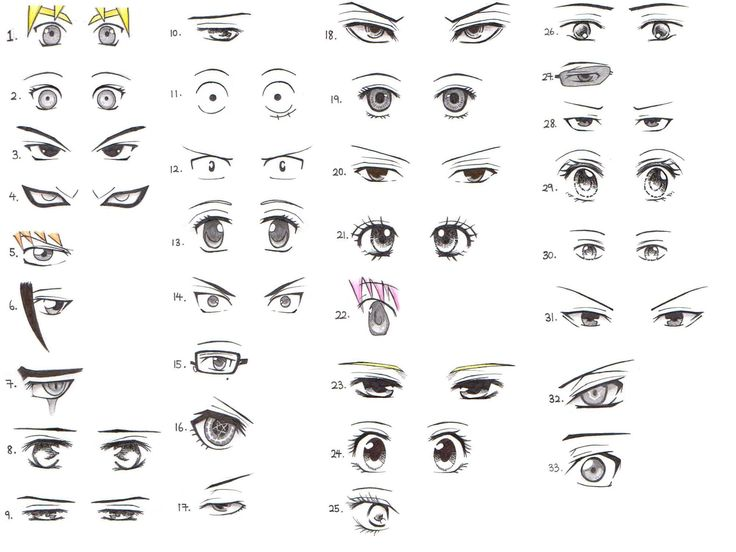Manga eyes, male & female | Drawing reference! :3 ...
