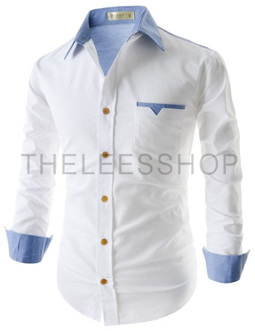 (EVS95-WHITESKY) Mens Casual Slim Fit Two-Tone 1 Chest Pocket Patched Long Sleeve Shirts