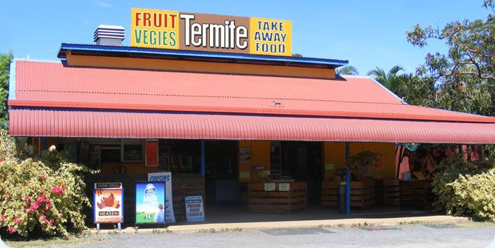 The Termite - Fruit, Vegetables and Take Away Food - Mareeba, North Queensland. We tried crumbed crocodile, chips and salad.