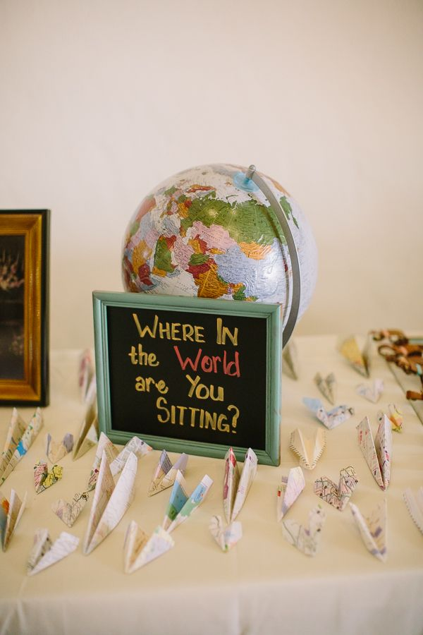 where it the world are you sitting escort card station #weddingreception #weddingchicks #escortstation http://www.weddingchicks.com/2014/01/23/paradise-found-wedding/