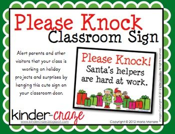 Please Knock Classroom Sign For Christmas School Room