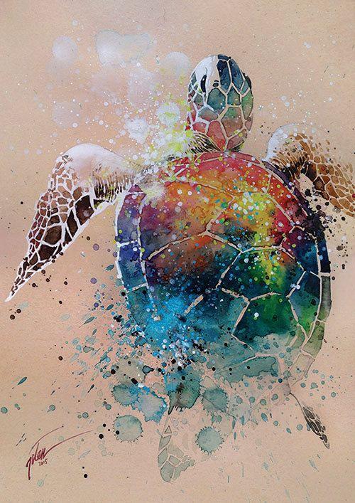Aquarelle tortue avec gouache A3 peinture par tilentiart sur Etsy