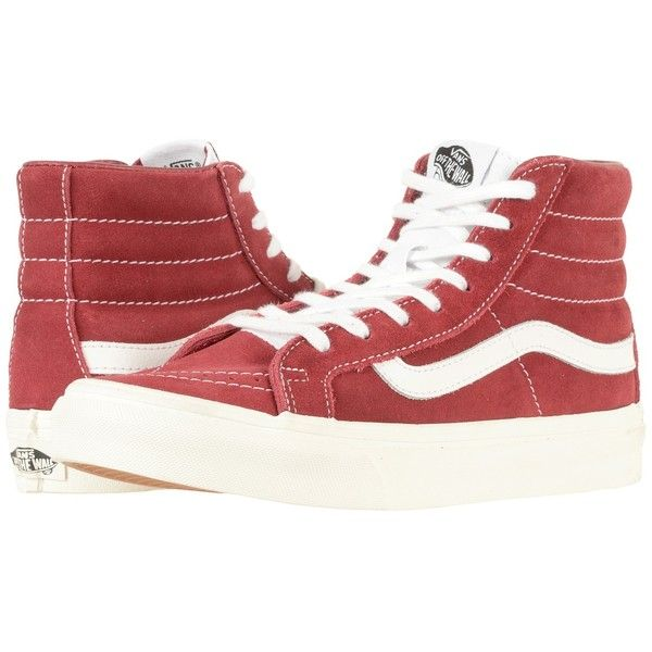 Vans SK8-Hi Slim ((Retro Sport) Tibetan Red/True White) Skate Shoes ($65) ❤ liked on Polyvore featuring shoes, sneakers, leather sneakers, red high top sneakers, white leather sneakers, red hi top sneakers and red hi tops