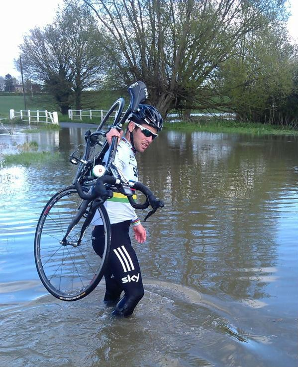 Cycling - Flood water interrupts Mark Cavendish's training ride photo Rob Hales via Twitter