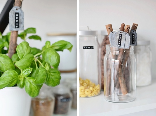 wooden sticks + tin labels + #dymo names for herbs, great idea!