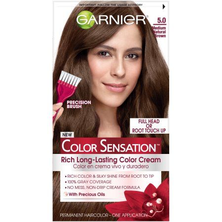 Garnier Color Sensation Permanent Hair Color, 5.0 Medium Natural Brown
