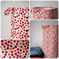 Ces sacs de rangement en tissu sont bien pratiques. J'ai cousu celui-ci en grand format pour ma sœur qui avait besoin d'un sac à linge sale...