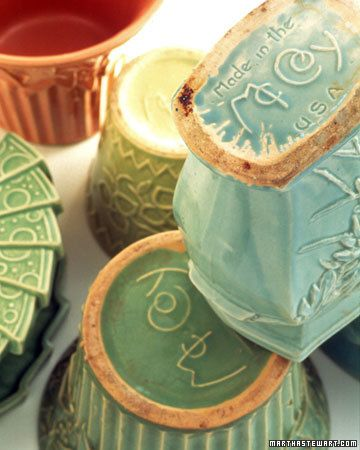 "No two pieces of McCoy pottery are exactly alike: As with all machine-made pottery, the patterns on the first pieces out of a particular mold are clear and crisp; those on the last, made hundreds of castings later, are fuzzy and indistinct. Many McCoy pieces are marked on the bottom, making it easy to verify their authenticity. Often, the ""M"" and the ""c"" in the first part of the name are intertwined; in the second part, the top of the ""C"" overlaps the ""o."" Variations include ""USA"" or ""Made…"