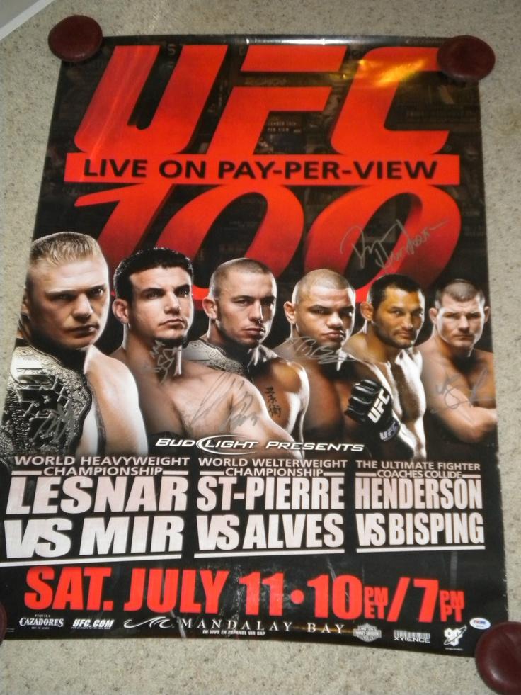 Georges St Pierre Brock Lesnar Frank MIR 3 UFC 100 Signed F s Poster PSA LOA | eBay