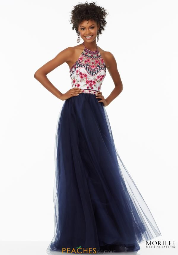 Mori Lee Halter Top Print Dress 99016