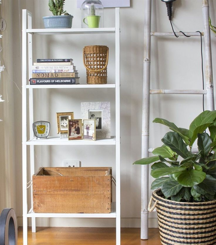 Make use of the corner of a room to store books, photos, plants and lamps with tall shallow vertical storage | LERBERG white metal shelf | Jessica's home in Australia | live from IKEA FAMILY