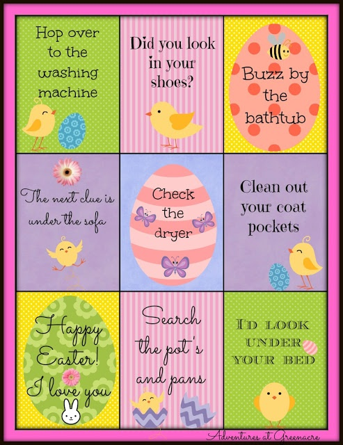 Free printable Easter egg hunt clues for kids