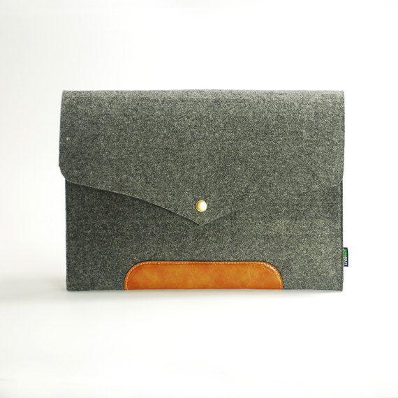 """13"""" Macbook Air // Leather Felt Sleeve Case"""