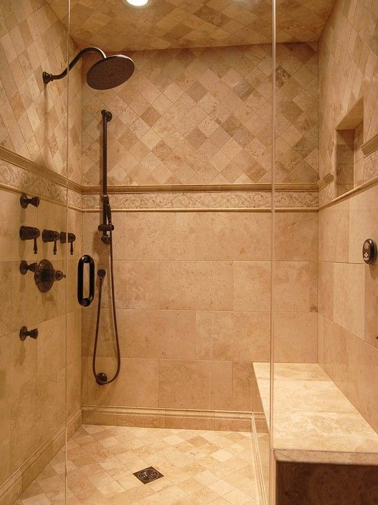 17 best ideas about travertine shower on pinterest for Designer bathroom flooring