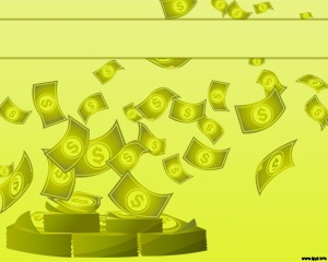 Making Business PowerPoint with bills and green background for money online