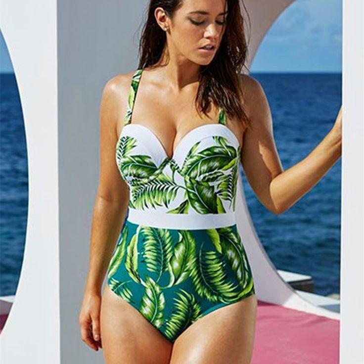 Plus Size Swimwear Women 2017 One Piece Monokini Underwire Push Up Swimsuit  Leaf Print Monokinis Large Size Swimsuits Bodysuits