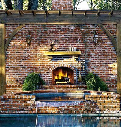 Backyard fireplace and pool.Backyards Fireplaces, Backyards With Pools, Backyards Pools, Living Room, Backyards Dreams, Backyards Remodeling, Outdoor Fireplaces, Outdoor Spaces, Backyard Fireplace