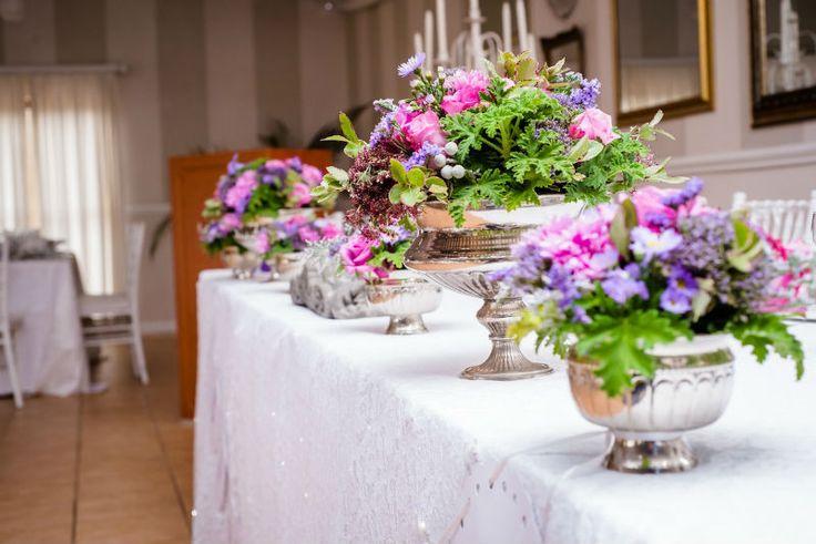 Bright Pink & Purple Bouquet. Navy Blue Bridesmaids. Gorgeous Bride, Gorgeous Flowers. Calderwood Hall. Natural Nostalgia. Décor, Flowers. Silver Rose Bowls