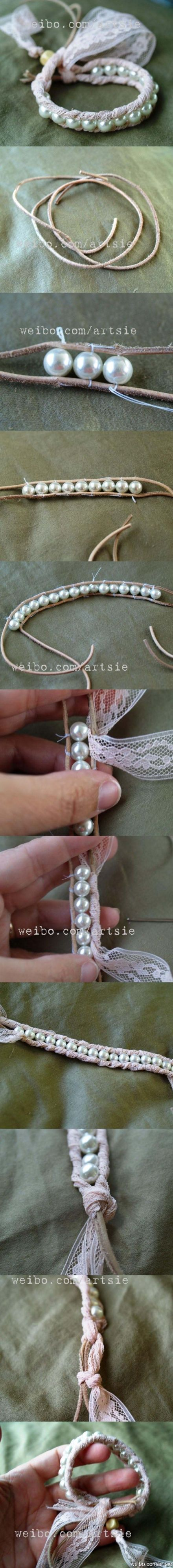 super cute!: Bracelets Tutorials, Idea, Wraps Bracelets, Beads Bracelets, Pearl Bracelets, Bridesmaid Gifts, Diy Bracelets, Lace Bracelets, Pearls Bracelets