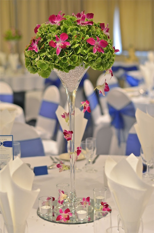 Royal Blue Bright Pink And Green Wedding Flowers Using