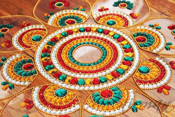 Kundan art sunflower kundan rangoli   Jumbo Pan  Red by Nirman