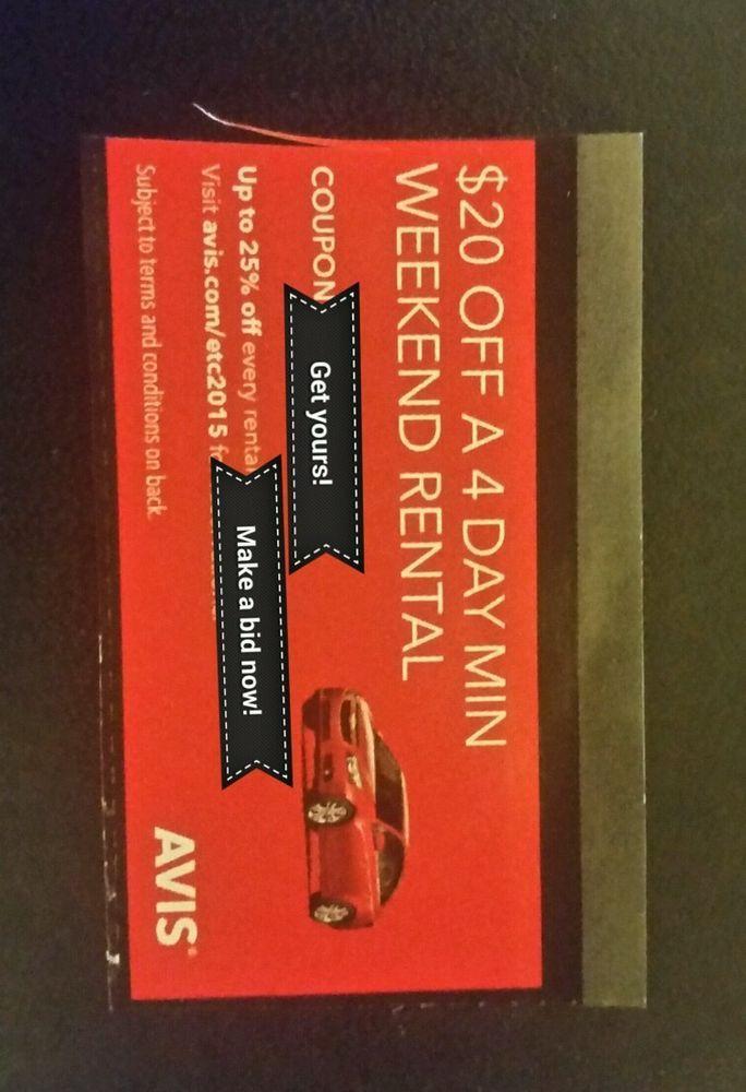 AVIS RENTAL CAR Discount COMBO COUPONS