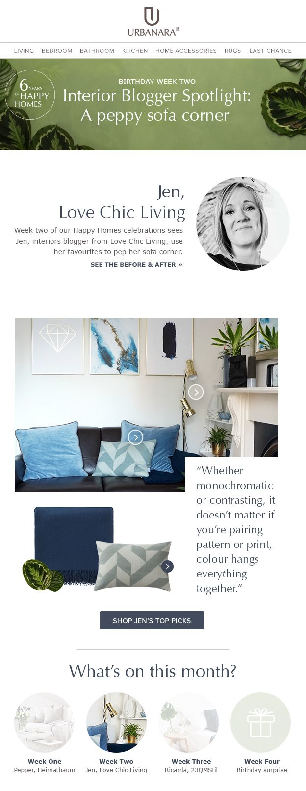 URBANARA newsletter template for blogger inspiration with Love Chic Living and 'get the look' home textiles and decor. Follows us for tips and inspiration for your home decor, interior or fashion newsletters.